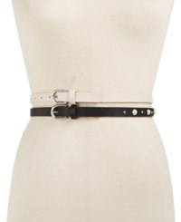 Inc International Concepts I.N.C. 2 For 1 Imitation Pearl And Smooth Belts Created For Macy's Black