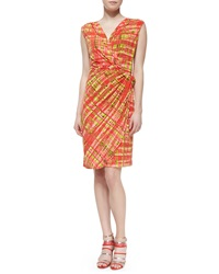 Natori Habi Plaid Faux Wrap Dress X Small