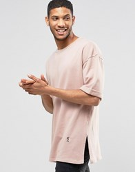Religion 3 4 Sleeve Crew Neck Sweat With Drop Shoulder Detail New Pink