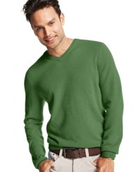 Club Room Cashmere V Neck Solid Sweater Sage Heather