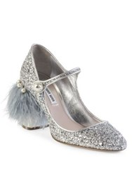 Miu Miu Feather And Gliter Mary Jane Pumps Silver