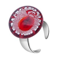 Akuamarina Silver Leaf And Murano Glass Round Open Ring Red
