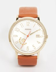 Fossil Gold Vintage Muse Tan Leather Watch Tan