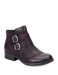Born Adler Double Buckle Riding Leather Ankle Boots Purple