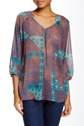 Love Zoe Quilt Patch Print Chiffon Blouse Green