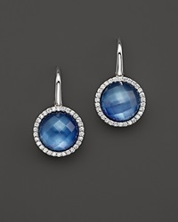 Roberto Coin 18K White Gold Fantasia Blue Topaz Lapis And Mother Of Pearl Triplet Cocktail Earrings With Diamonds