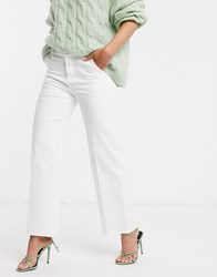 B.Young Forever Raw Hem Wide Leg Jeans Cream
