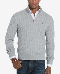 Polo Ralph Lauren Men's Cable Knit Mock Neck Sweater Fawn Grey