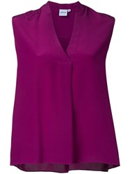 Aspesi V Neck Blouse Women Silk 42 Pink Purple