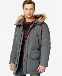 Guess Hooded Snorkel Coat Charcoal
