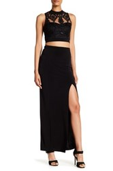 Speechless Embroidered Sequin Top And Maxi Skirt Set Black