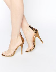 Daisy Street Gold With Clear Strap Barely There Heeled Sandals Gold