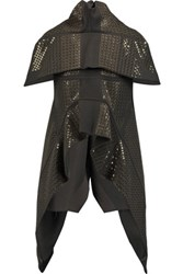 Rick Owens Draped Sequinned Wool Blend Jacket Dark Gray