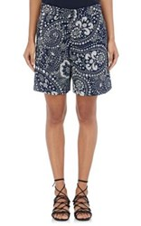 Chloe Women's Embossed Floral Paisley Cady Shorts Navy