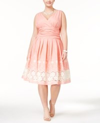 Si Fashions Sl Plus Size Embroidered Surplice Fit And Flare Dress Coral