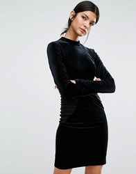 Y.A.S Luvy Velvet Bodycon Dress With Jersey Panels Black