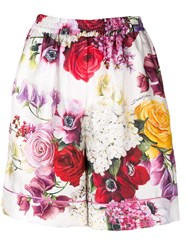 Dolce And Gabbana Floral Print Shorts White