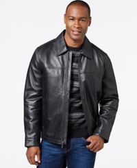 Perry Ellis Big And Tall Open Bottom Leather Jacket With Printed Lining Black