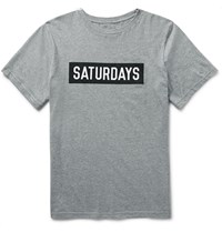 Saturdays Surf Nyc Slim Fit Printed Cotton Jersey T Shirt Gray