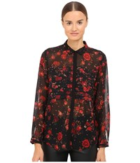 The Kooples Romantic Flowers On Chiffon Black Women's Long Sleeve Button Up