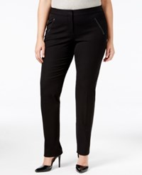 Alfani Plus Size Faux Leather Trim Tapered Leg Pants Only At Macy's Deep Black