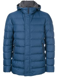 Herno Hooded Padded Coat Men Cotton Polyamide Feather Goose Down 52 Blue