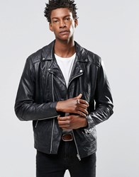 Religion Cutter Leather Biker Jacket Black