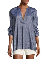 Theory Ofeliah Tierra Wash Pleated Tunic Top Blue