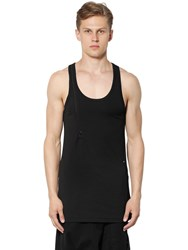 Y 3 Long Cotton Jersey Tank Top With Zip