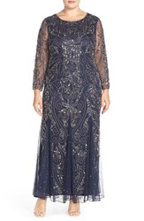 Plus Size Women's Pisarro Nights Embellished Three Quarter Sleeve Gown