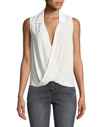 Likely Mason Draped Georgette Sleeveless Top White