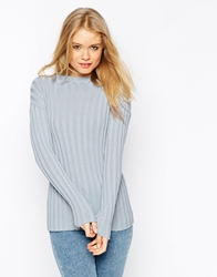 Asos Jumper In Rib Knit With Turtle Neck Blue