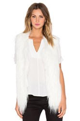 J.O.A. Shaggy Faux Fur Vest White