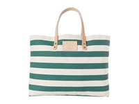 Will Leather Goods Bright Stripe Carry All Forest Green Tote Handbags