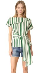 J.O.A. Off Shoulder Stripe Tunic Green Ivory