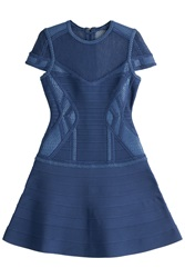Herve Leger Herve Leger Bandage Dress With Mesh Blue