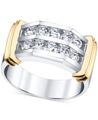 Macy's Men's Diamond Two Row Band 1 Ct. T.W. In 10K White Gold With 14K Gold Accents