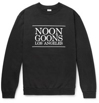 Noon Goons Logo Printed Fleece Back Cotton Jersey Sweatshirt Black