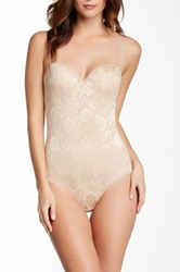 Heavenly Secrets Power Mesh Molded Cup Bodysuit Plus Size Available Beige