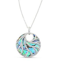 Frederic Sage Venus 18K White Gold Swirled Abalone Pendant Necklace With Diamonds
