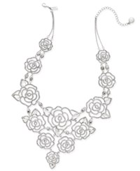 Kate Spade New York Silver Tone Crystal Openwork Rose Statement Necklace
