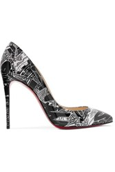 Christian Louboutin Pigalle Follies Nicograf 100 Printed Patent Leather Pumps Black