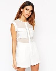 Asos Playsuit With Sheer Inserts And Oversized Pocket Detail White