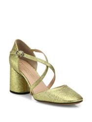 Marc Jacobs Haven Glitter Crisscross Pumps Gold