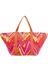 M Missoni Printed Canvas Tote Fuchsia