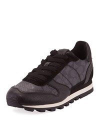 Coach C118 Runner Signature Low Top Leather Sneakers Gray