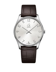 Calvin Klein Mens Swiss Classic Stainless Steel Brown Leather Strap Watch