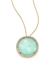 Suzanne Kalan Blue Chalcedony White Sapphire And 14K Yellow Gold Large Round Pendant Necklace