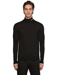 Msgm Embroidered Wool Blend Knit Turtleneck Black