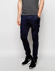 Asos Super Skinny Trousers With Zip Cargo Pockets In Navy